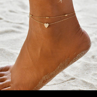 Love Heart Charm Ankle Bracelet