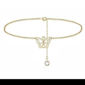 Gold Butterfly Charm Ankle Bracelet