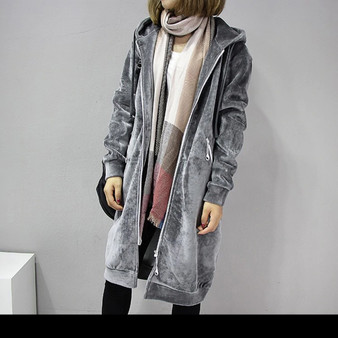 Warm Long Length Casual Jacket in Grey