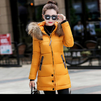 Hooded Winter Coat in Yellow