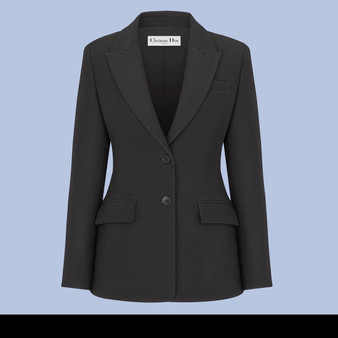Elegant Dior Wool & Silk Jacket in Black