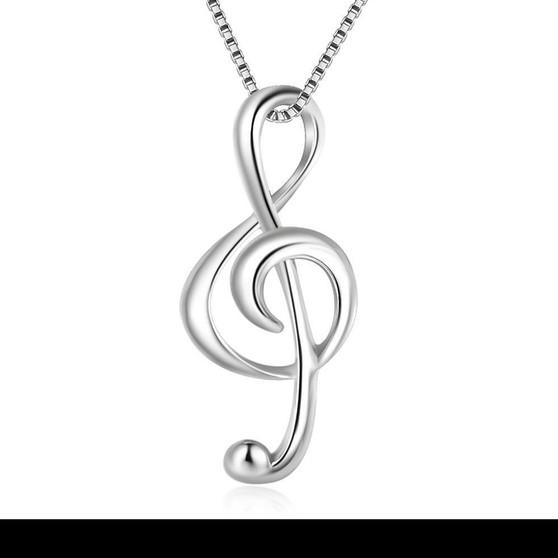 Elegant Musical Note Pendant in Silver