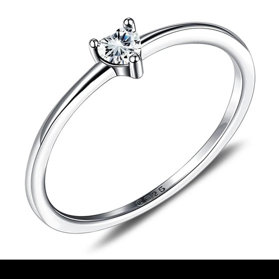 Silver Ring with Zircon Heart