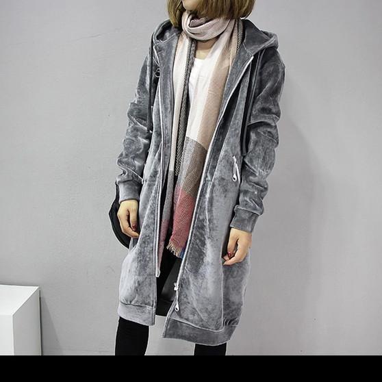 Warm Long Length Casual Jacket in Grey