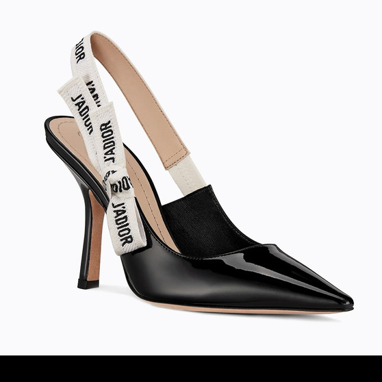 Cover photo of a Dior J'Adior Slingback Pump.  Crafted at the Christian Dior ateliers in Italy, featuring a two-tone embroidered 'J'Adior' ribbon and a 10 cm comma heel.