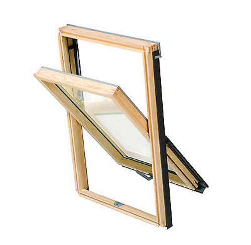YARDLITE (VELUX style) Centre-Pivot Pine Roof Window with Flashing
