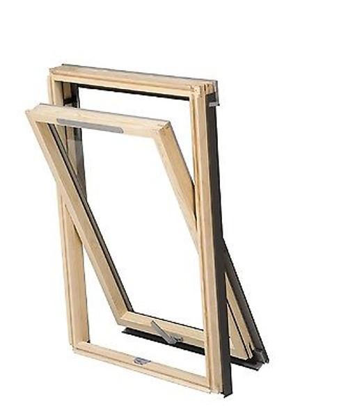 YARDLITE - NEW!  (VELUX style) Vented Centre-Pivot Pine Roof Window + Flashing