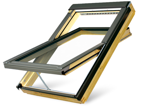 FAKRO FTP-V P2 04 Electric Z-Wave Centre-Pivot Roof Window in Natural Pine with Safety Double glazing 66x118cm
