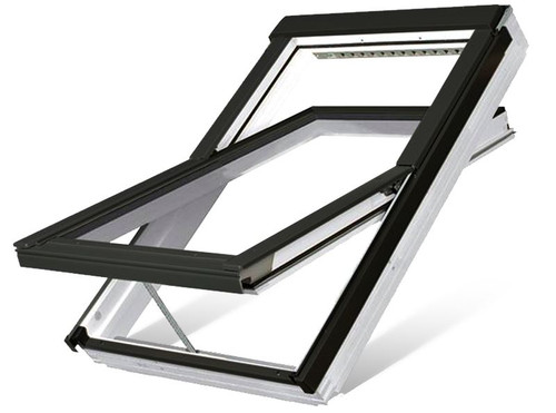 FAKRO FTU-V P2 04 Electric Z-Wave Centre-Pivot Roof Window in White Polyurethane with Safety Double glazing 66x118cm