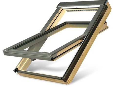 FAKRO FTP R1 01 Centre-Pivot Roof Window in Natural Pine with Sound Reducing glazing 55x78cm