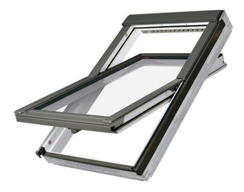 FAKRO FTU-V P2 02 Centre-Pivot Roof Window in White Polyurethane with Safety Double glazing 55x98cm