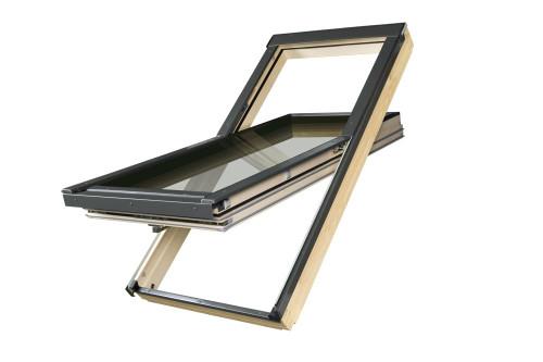 FAKRO FTT/U U8 09 High Enegergy Efficient Pivot Roof Window in White Polyurethane Quadruple glazed with EHV-AT Thermo Flashing and XDK Insulation Kit 94x140cm