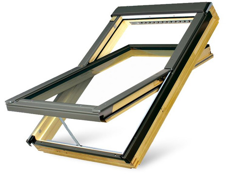 FAKRO FTP-V P2 08 Electric Z-Wave Conservation Style Centre-Pivot Roof Window in Natural Pine with Safety Double glazing 94x118cm