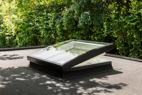 VELUX Electric Curved Glass Flat Roof Window - Open