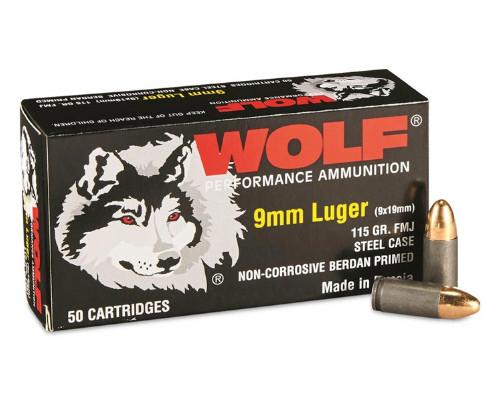 Wolf | 115gr | FMJ | 9mm | (STEEL CASE)