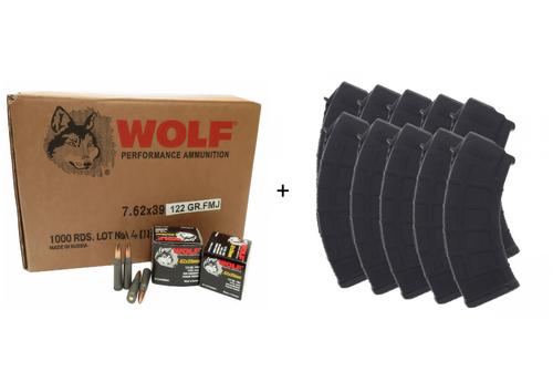 1000 Wolf   122gr FMJ   7.62X39 + 10 Magpul   30rd   AKM Pmag