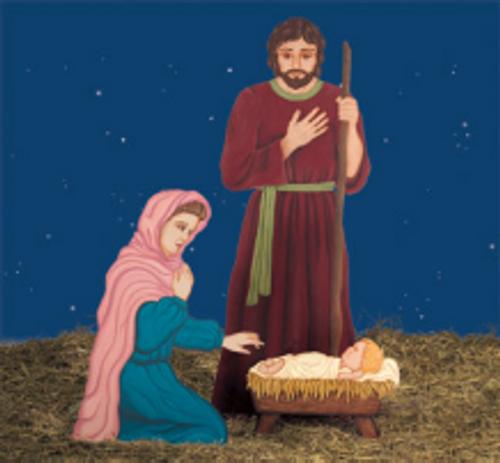 Holy Family Nativity Scene Wood Pattern