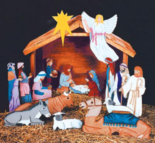 Large Nativity Scene Wood Pattern