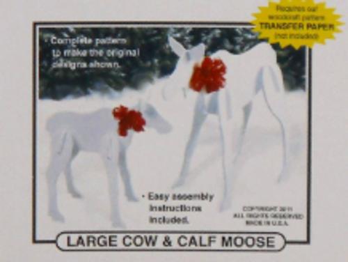 Moose Cow & Calf Wood Pattern