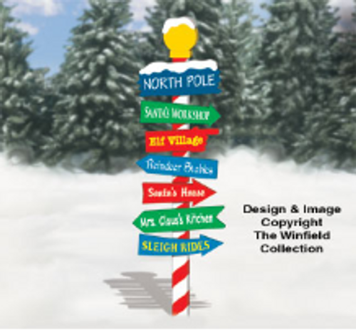 North Pole Sign Wooden Pattern