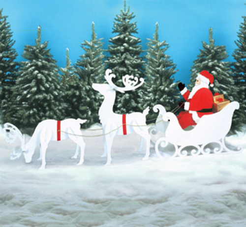 Reindeer, Sleigh & Santa Collection Wood Pattern