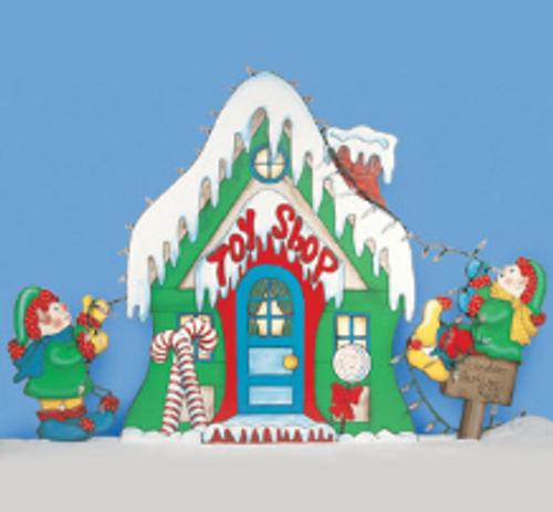 Santa Toy Shop Wood Pattern