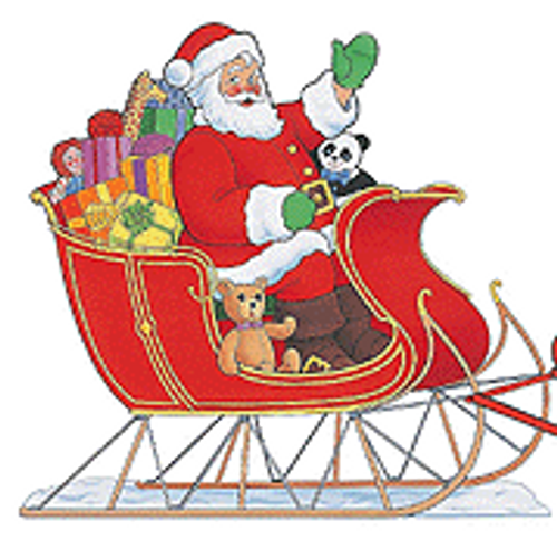 Santa Sitting In His Sleigh Poster