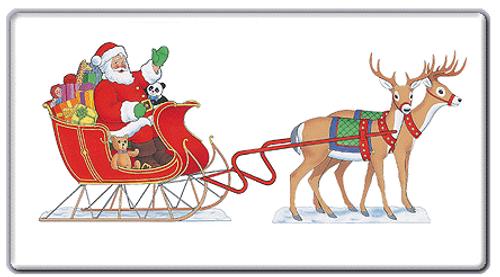 Seated Santa & 8 Reindeer Outdoor Poster
