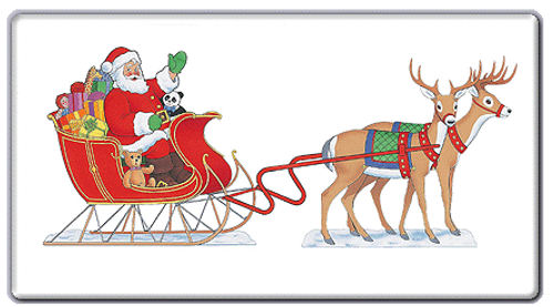 Seated Santa, Sleigh and 2 Reindeer Outdoor Poster