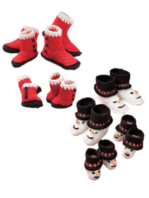 Santa & Snowman Booties for babies and kids crochet pattern