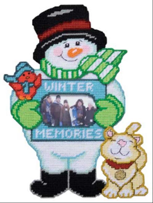 Snowman Photo Holder Plastic Canvas Kit