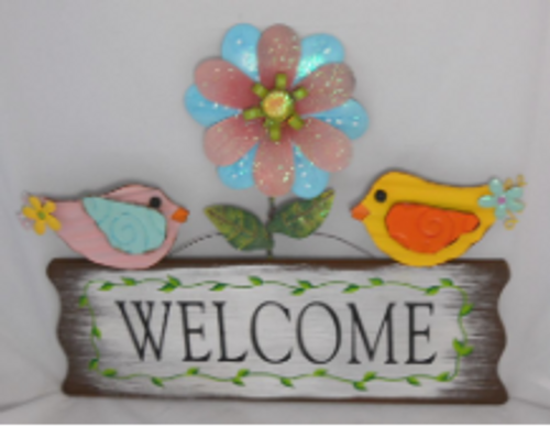 Birds and Flowers Welcome Sign