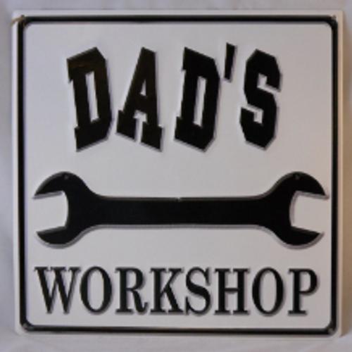 Dad's Workshop Metal Sign-White