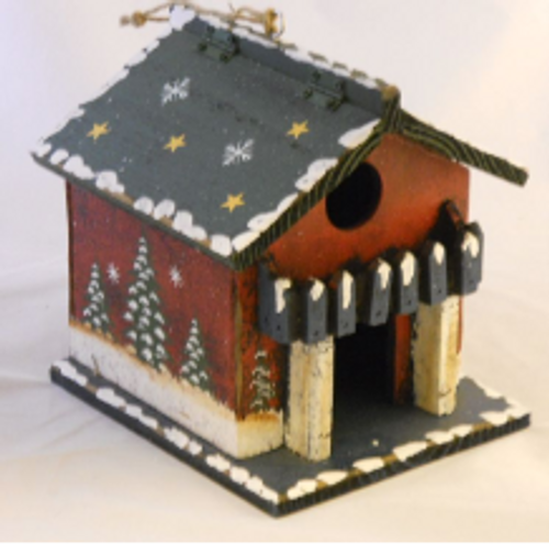 Holiday Cabin Birdhouse with Blue Balcony
