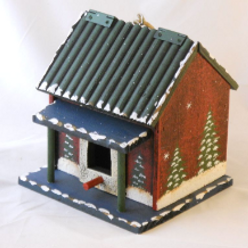 Holiday Cabin Birdhouse with Blue Porch