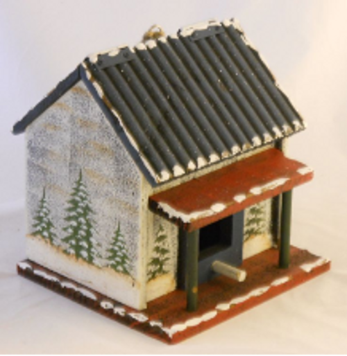 Holiday Cabin Birdhouse with Red Porch