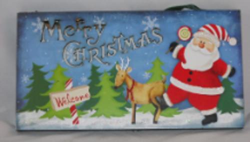 Holiday Light Up Hanger Santa With Reindeer