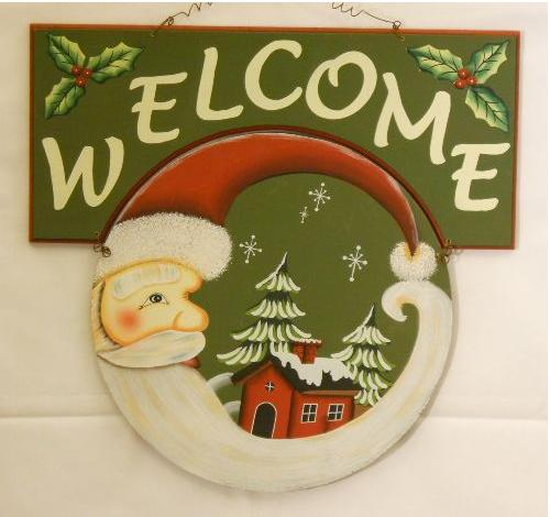Holiday Santa Welcome Sign