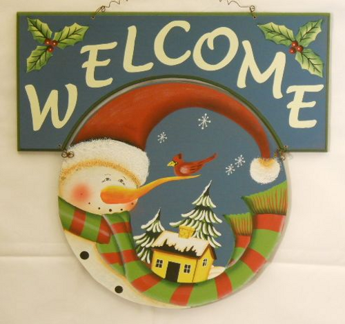 Holiday Snowman Welcome Sign-Blue