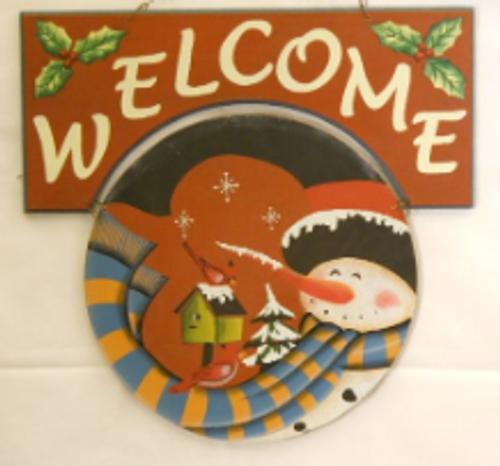 Holiday Snowman Welcome Sign - Red