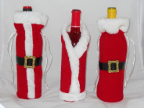 Santa Coat Wine Bottle Covers 3 Pack