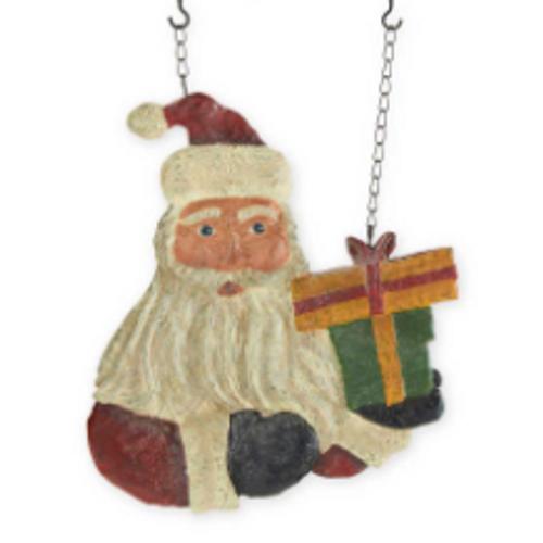 Santa with Presents Hanging Plaque
