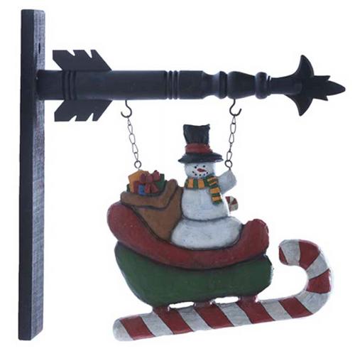 Snowman Sled Plaque