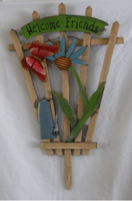 Trellis with Blue Flower Welcome Friends Sign