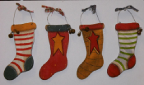 Wooden Stocking Ornaments 4 Pack
