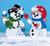 Snowman Snowball Fight Wood Pattern
