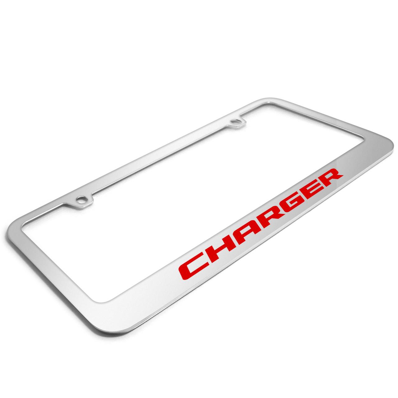 Chrome Dodge Stripe Logo Laser Etched License Plate Frame