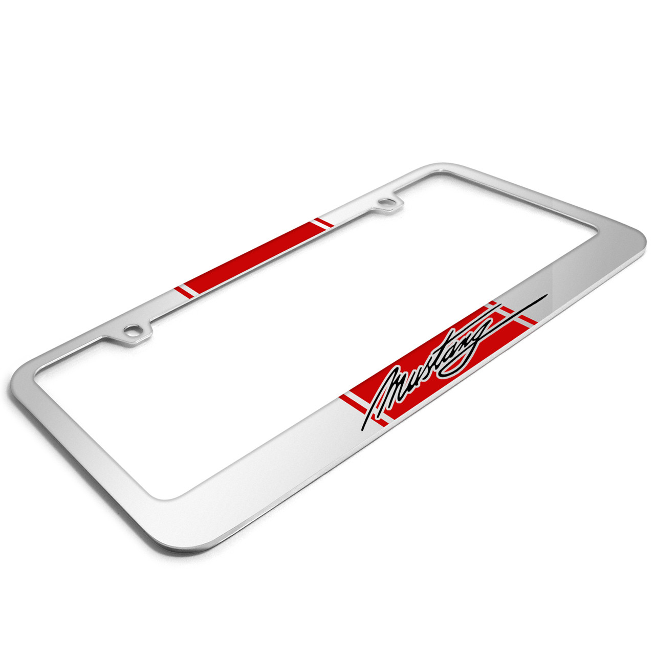 Ford Mustang Blue Racing Stripe Mirror Chrome Metal License Plate Frame