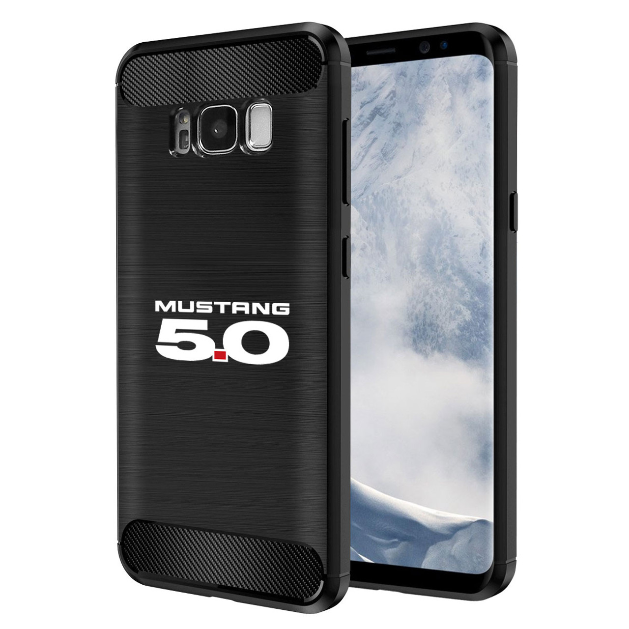 Galaxy s8 case ford mustang 5 0 tpu shockproof black carbon fiber textures stripes cell phone
