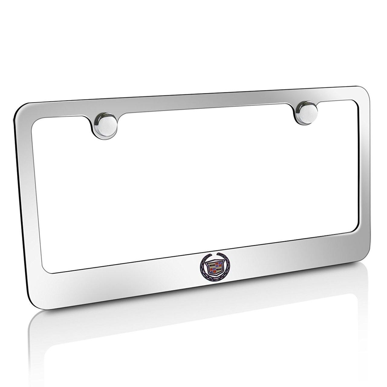 Black//Silver Cadillac Chrome License Plate Frame